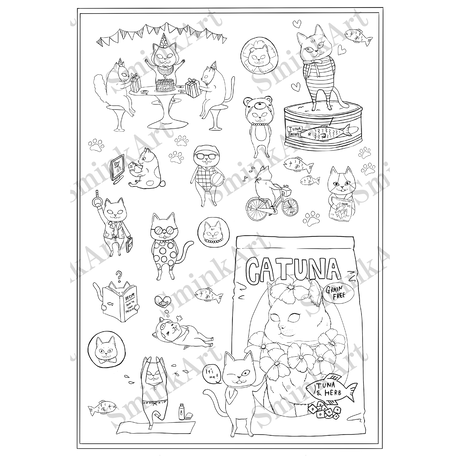 SminkArt塗り絵シール【 犬猫柄 】 A4サイズ 2種/セット<塗り絵デザインシール>