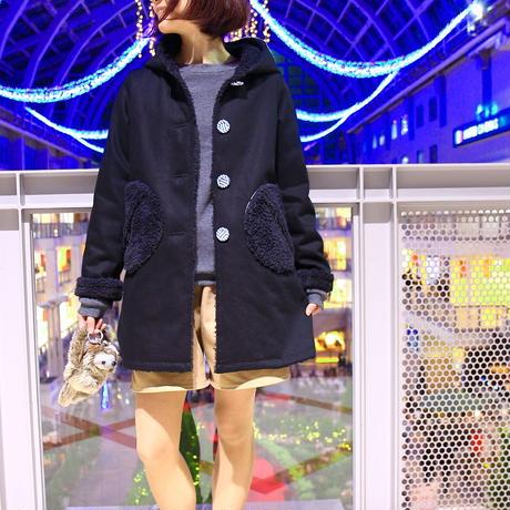 スノウピー♡のモコモコボア裏地の黒い犬のようなコート