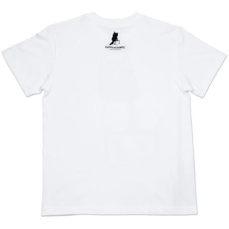 〔予約販売2021年6月下旬〜7月上旬発送予定〕河童の三平 カバン持ちタヌキ T-Shirts(巾着袋付) Color  ホワイト