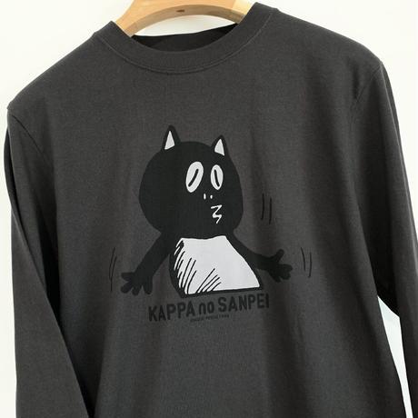 〔予約販売2021年5月下旬〜6月上旬発送予定〕河童の三平 うっかりたぬき ロングスリーブ T-Shirts Color  スミ