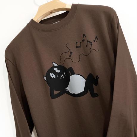 〔予約販売2021年2月下旬〜3月上旬発送予定〕河童の三平 うたたねたぬき ロングスリーブ T-Shirts Color  こげ茶