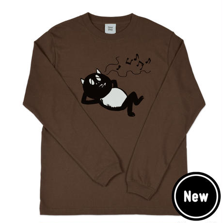 〔予約販売2020年12月下旬〜2021年1月上旬発送予定〕河童の三平 うたたねたぬき ロングスリーブ T-Shirts Color  こげ茶