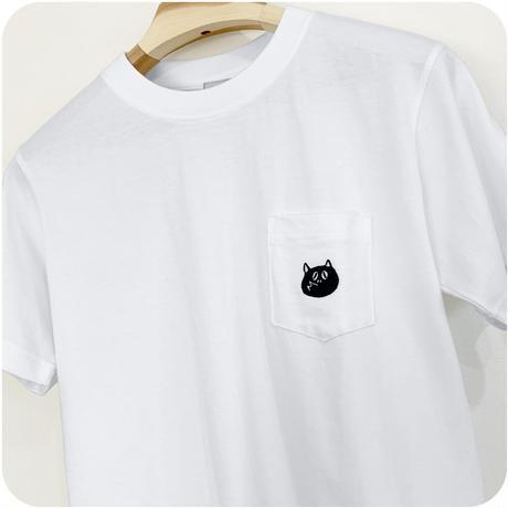 〔予約販売2021年10月下旬〜11月上旬発送予定〕河童の三平 刺繍たぬき Pocket T-Shirts Color ホワイト