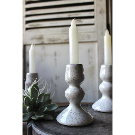 ≪blmv-cdl-wh ≫ Bloomingville  candlestick, stoneware,  white
