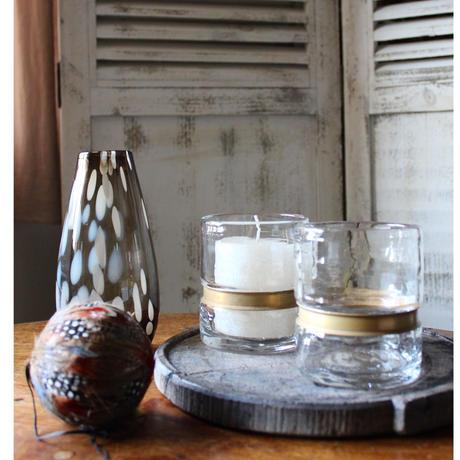 ≪nd-gl-cdhld-br≫ Nordal Ring vase/ T-light holder  H10cm