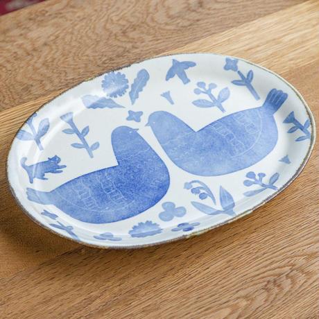 かとうようこ 陶作品「オーバル皿 大・とり二羽」