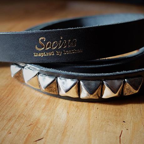 "20mm Narrow Belt  ""Square_end+Studs"" 【black】"