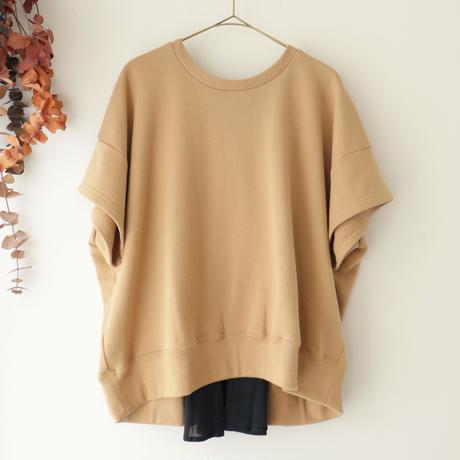 the last flower of the afternoon ザ ラスト フラワー オブ ジ アフタヌーン | half sleeve sweatshirt | キャメル