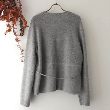 TENNE HANDCRAFTED MODERN テン ハンドクラフテッド モダン | WEAVE AND KNIT CARDIGAN | ライトグレー