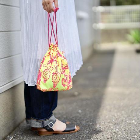 【MIKAMI】ナイロン 巾着バッグ Z054 オレンジ&グリーン