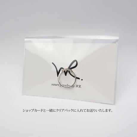 V字シルバー925ピンキーリング/ブラックスピネル/ホワイトクオーツ