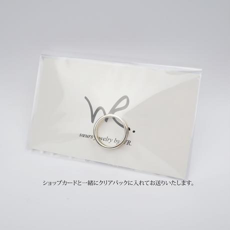 2連風シルバー925リング/ブラックスピネル/ホワイトクオーツ