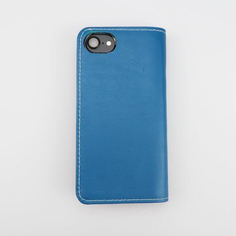 iPhone6,7,8対応ケース 牛革ソフトレザー <L141ブルー&ピンク>