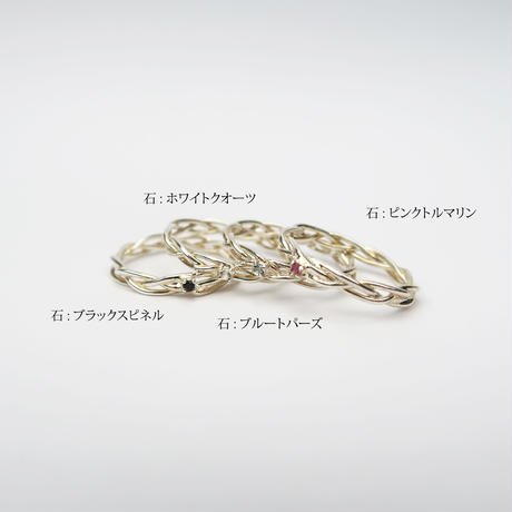 編み紐 シルバー925リング/ブラックスピネル/ホワイトクオーツ