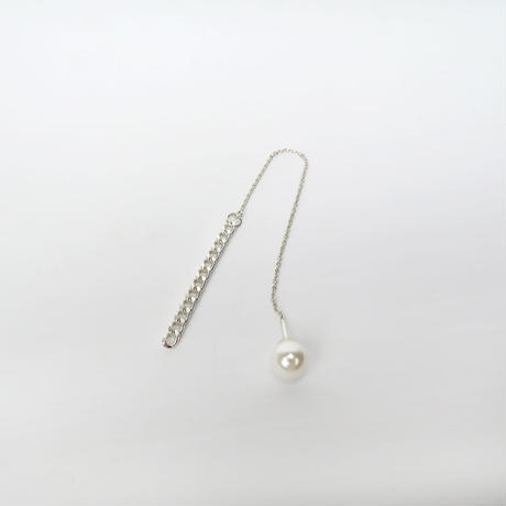 S325 片耳 喜平チェーンのアメリカンピアス/シェルピアスキャッチ付