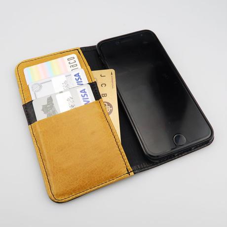 iPhone6,7,8対応ケース 牛革ソフトレザー <L125 ブラック&イエロー)