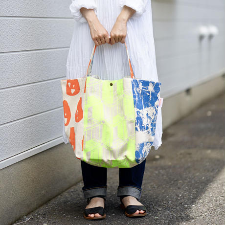 【MIKAMI】帆布パッチワークバッグ Z029 オレンジ&ネイビー&イエロー