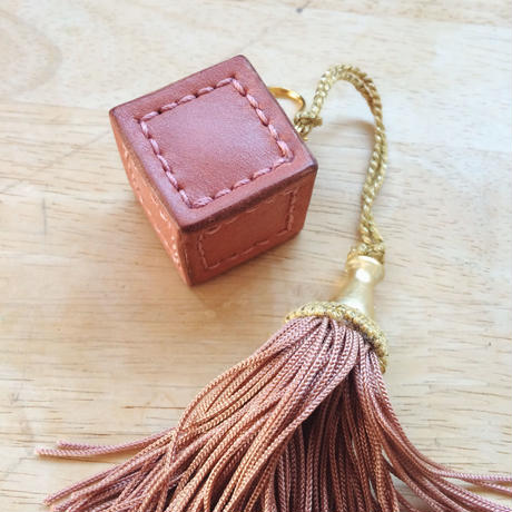 CUBE キーホルダー - Rosso/Olive/Hand dyed blue/Pink