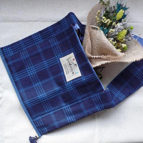 Monk Fabric bag - Indigo- チェック