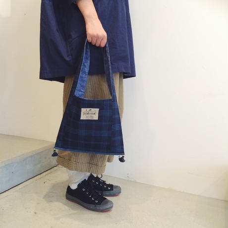 Monk Fabric bag - Indigo-  ギンガムチェック