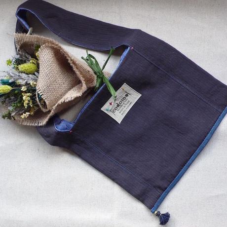 Monk Fabric bag -Pinstripe linen-