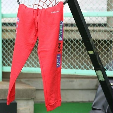LONELY/論理 ANARCHY S.O.D LOGO SWEAT PANTS -red-