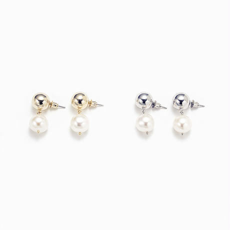 Metal stone pearl pierce (2+2)