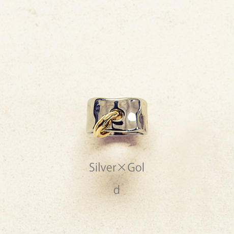 Peg metal ring / Silver×Gold