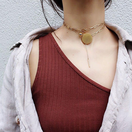 Ethical modern oval necklace (Gold)