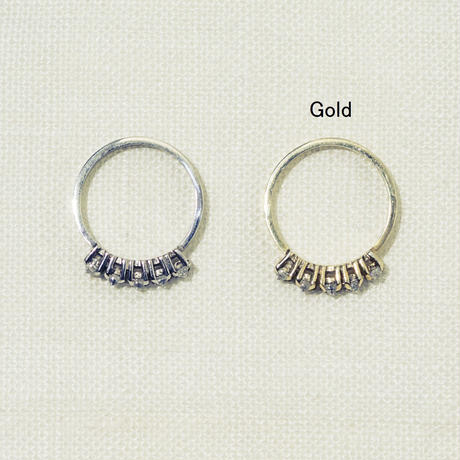「Dresden」 5粒 zirconia ring / Gold