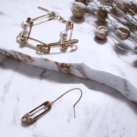 Safety pin mix bracelet (Gold)