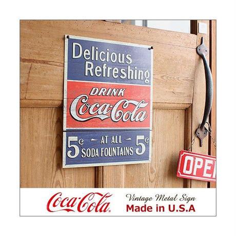 コカ コーラ Delicious 5cents メタル サイン ブリキ看板 Made in USA 1619