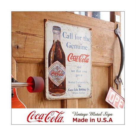 コカ コーラ Call for Genuine メタル サイン ブリキ看板 Made in USA 1918