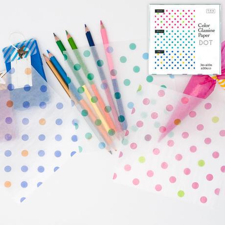 グラシン紙|水玉柄 3色アソート|折り紙サイズ|ラッピング 透けるデザインペーパー