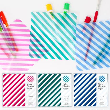 グラシン紙|ストライプ柄 単色|折り紙サイズ|ラッピング 透けるデザインペーパー