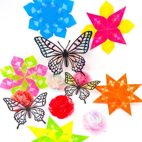 送料無料★グラシン紙 24色 単色コンプリートセット 折り紙サイズ 24色各10枚計240枚 カラーグラシンペーパー 半透明 お花紙