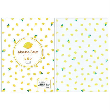 グラシン紙|フルーツ 単柄|A4|いちご ピーチ さくらんぼ レモン ミックス 透けるデザインペーパー ラッピング コラージュ素材
