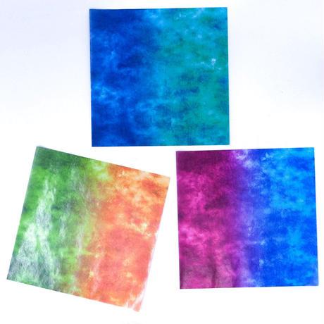 グラシン紙 二色しぼり 単色 折り紙サイズ 透けるデザインペーパー  緑青 橙緑 青紫