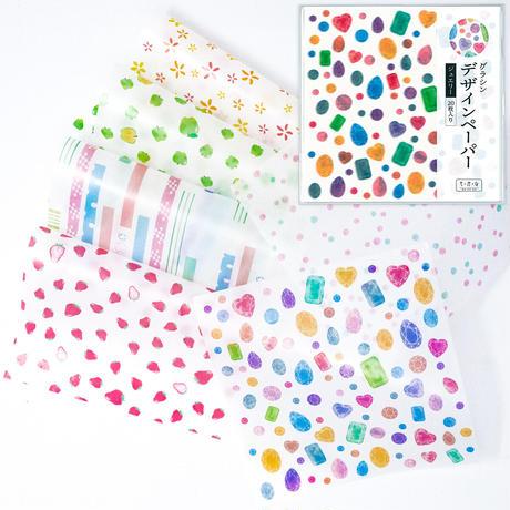 グラシン紙|バラエティシリーズ 単柄|折り紙サイズ|透けるデザインペーパー ジュエリー いちご 水玉 花柄