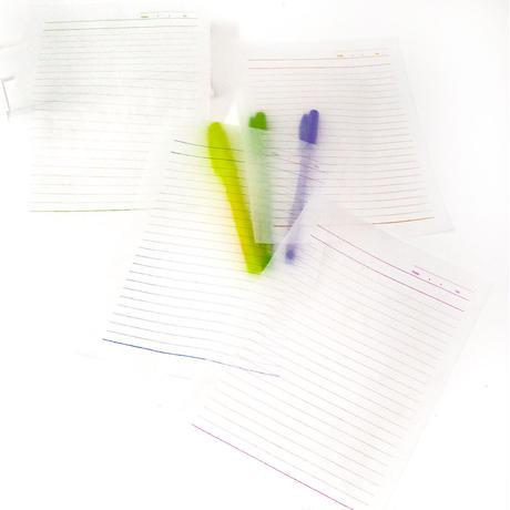 グラシン紙|ノート柄 4色アソート|A5|大学ノート風 透ける便箋 メモ用紙