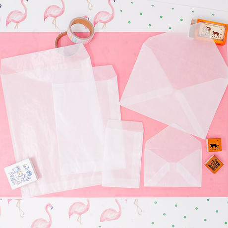 グラシン封筒【10枚入 中タテ型】114×162mm 白無地 洋形2号たて ポストカード ハガキサイズ 透ける平袋 バッグ