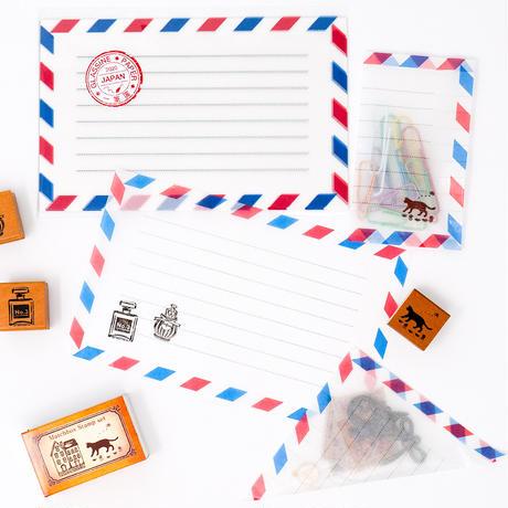 グラシン紙|ミニエアメール柄|透ける一筆箋  メモ用紙 フレンチカジュアル トリコロール