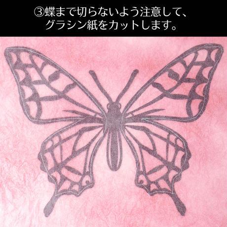 夏休みの自由工作に|カラーグラシン切り絵キット|蝶を抜いてグラシン紙を貼るだけ セット コラージュ