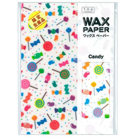限定生産★ワックスペーパー|A5|キャンディー フラワー ポルカドット 蝋引き加工 純白ロール 包み紙