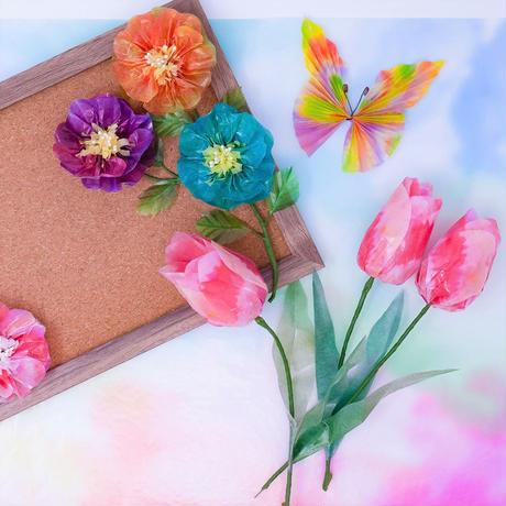 グラシン紙|二色しぼり 3色アソート|折り紙サイズ|透けるデザインペーパー  緑青 橙緑 青紫
