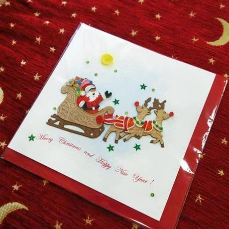 pc14    ★立体的なデザインがかわいい!ベトナムペーパークイリングカード(クリスマス)