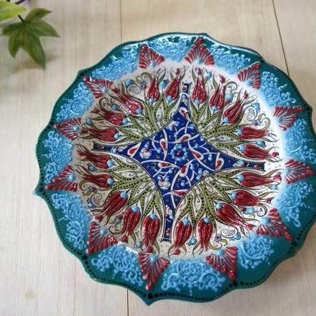 plate18-a5★繊細な手描きのトルコ・キュタフヤ陶器(プレート18cm)