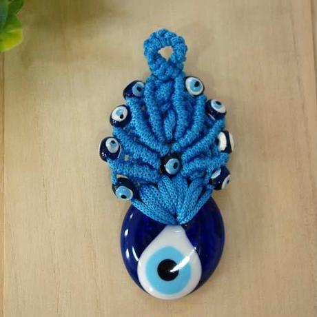 nazat100  ★編込み トルコのお守りナザールボンジュウ  壁飾りSSサイズ(ブルー)
