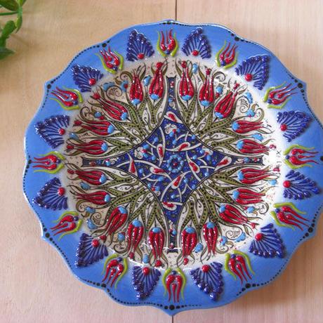 plate18-1★繊細な手描きのトルコ・キュタフヤ陶器(プレート18cm)