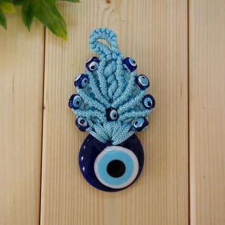 nazat81  ★編込み トルコのお守りナザールボンジュウ  壁飾りSSサイズ(ブルー)